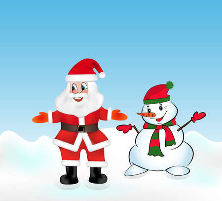Santa Claus and Snowman welcomes guests. Christmas vector illustration.