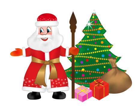 Russian Santa Claus or Father Frost also known as Ded Moroz with staff and keeps a bag full of gifts to Christmas tree. Happy New Year greeting card. Vector illustration.