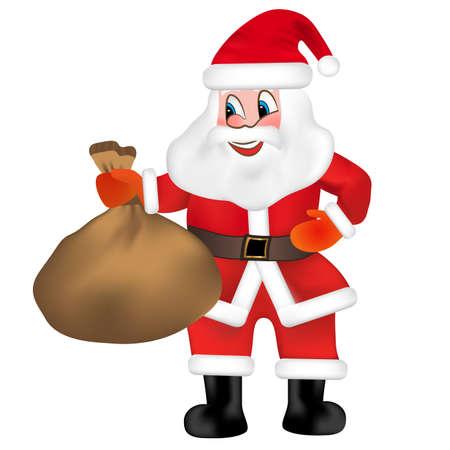 Funny Santa Claus with sack full of gifts isolated on white background. Vector Illustration. Vektoros illusztráció