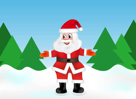 Santa Claus in the snow forest on the background of Christmas trees welcomes guests. Vector illustration.