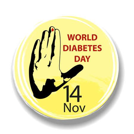 World Diabetes Day. Round symbol with hand and blood drop. Health care. Medical vector illustration. Ilustração