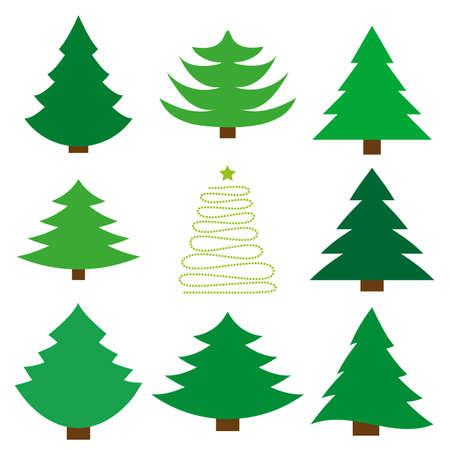Christmas tree. A set of nine fir. Vector illustration.