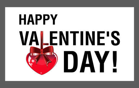 Happy Valentine's Day greeting banner with hearts and red bow on tape. Vector illustration. Illusztráció