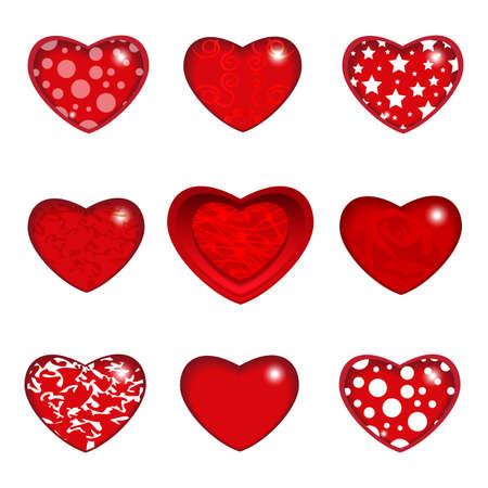 Set elegant heart. Happy Valentines Day. Vector illustration.