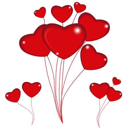 Group of red balloon hearts on strings. Happy valentines day. Vector illustration.