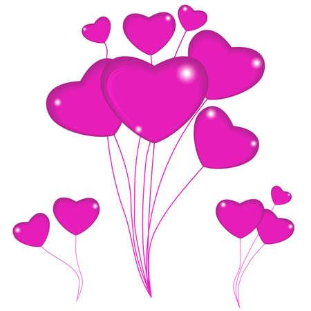 Group of pink balloon hearts on strings. Happy valentines day. Vector illustration. Illusztráció