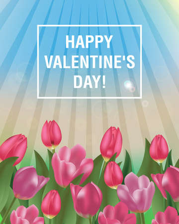 Happy Valentine's Day tulips design. Spring sunny day with blue sky and flowers. Vector illustration.