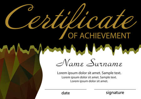 Certificate of achievement template. Winning the competition. Reward. Vector illustration. 向量圖像