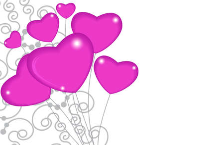 Group of pink balloon hearts on strings with ornament decoration. Happy valentines day. Vector illustration. Illusztráció