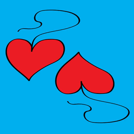 Two hearts. Valentine's day greeting card. Vector illustration.