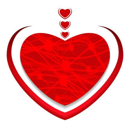 Red heart. Valentines day greeting card. Vector illustration. Illusztráció
