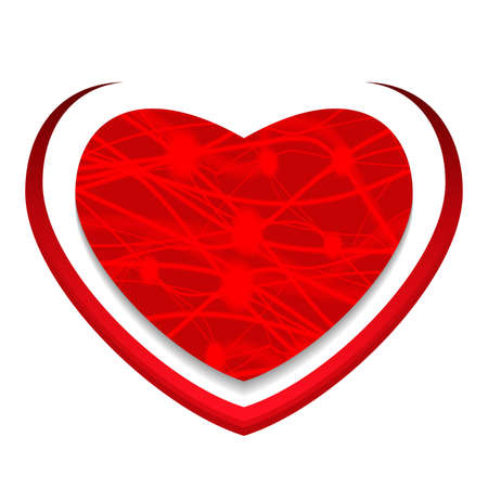 Red glowing heart. Valentine's day greeting card. Vector illustration. Illusztráció