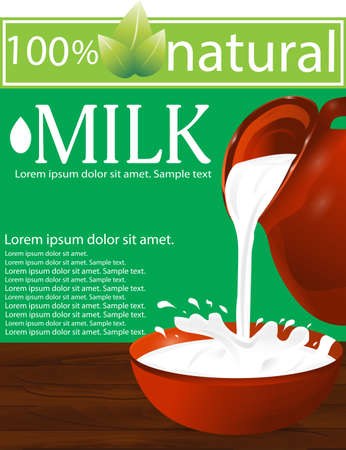 Milk being poured from a jug into a bowl on a wooden table. Splash. Green background. Vector illustration.