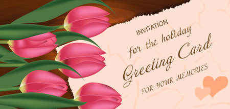 Bouquet of pink tulips on a wooden background, with free space for text. Spring flowers. Mother's or Valentine's day background. Vector illustration.