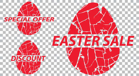 Easter sale, special offers, discounts on grunge a transparent background. Vector illustration.