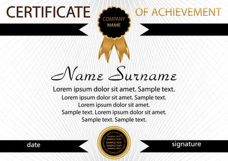 Template certificate of achievement. Elegant background. Winning the competition. Reward. Vector illustration.
