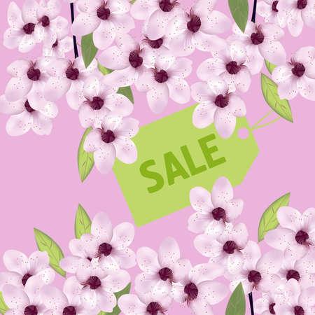 Spring flowers. Sakura or cherry. The poster with sale label. Vector illustration. Illusztráció