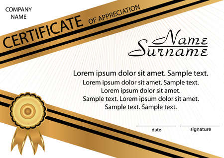 Gold and black template certificate of appreciation. Elegant background. Winning the competition. Reward. Vector illustration. Illusztráció