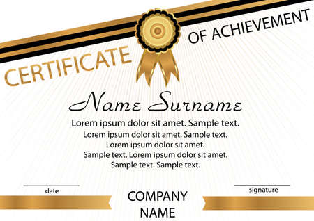 Gold and black template certificate of achievement. Elegant background. Winning the competition. Reward. Vector illustration.