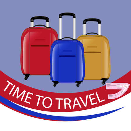 The concept of a time to travel. Three modern suitcases on wheels. Red, blue and yellow. Air tickets. Vector illustration. Vettoriali