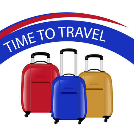 Concept time to travel. Three modern suitcases on wheels. Red, blue and yellow. Vector illustration. Vettoriali