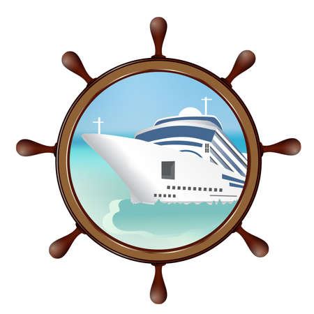 Helm and porthole with the ship. Concept advertising sea travel. Vector illustration.