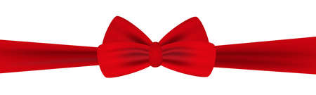 Red bow with ribbon isolated on white background. Vector illustration. Illusztráció