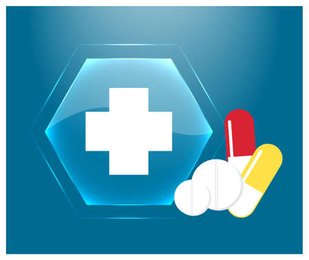 Medical   emblem of the pharmacy. Blue glass button with cross, tablets and pills. Vector illustration. Ilustrace