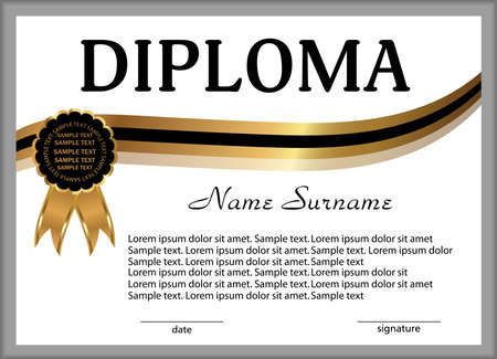 Diploma or certificate. Gold and black decorative elements. Reward. Winning the competition. Award winner. Vector illustration. Stock Illustratie