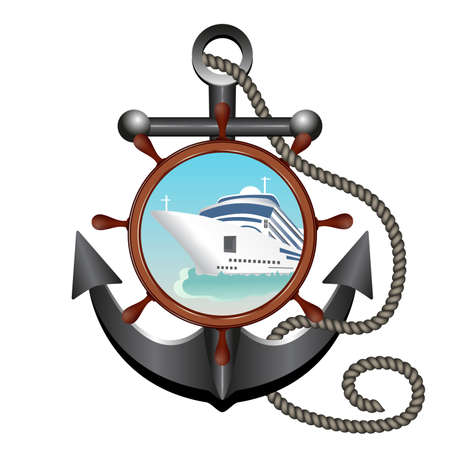 Anchor, rope, helm and porthole with the ship. Concept advertising sea travel. Vector illustration. Ilustração