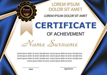 Certificate of achievement. Award winner. Vector illustration.