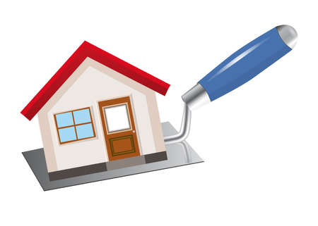The concept of construction and home repairs. The house stands on the trowel.   Vector illustration. Иллюстрация
