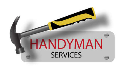 Professional handyman services. Hammer. A sign nailed. Repair tool. Vector illustration. Ilustração