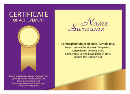 Template certificate of achievement. Elegant gold and purple design. Vector illustration.