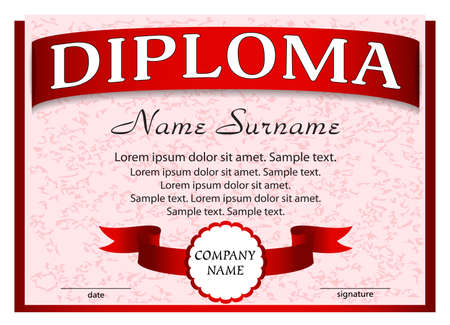 Template diploma with red ribbon. Vector illustration.