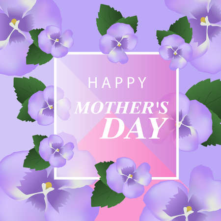 Happy Mother's Day. Elegant background with purple flowers. Vector illustration.