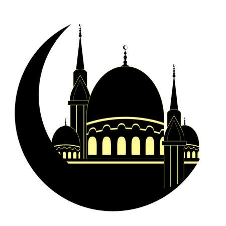 Mosque and Moon for Muslim holy month Ramadan Kareem. Ramadan Mubarak. Silhouette. Vector Illustration.