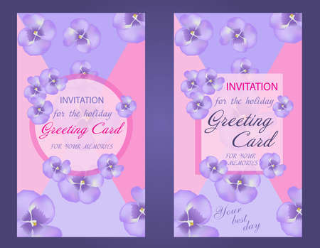 Decorative vertical greeting card or invitation design with purple flower, violet. Set of beautiful wedding card. Vector illustration.