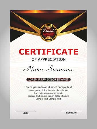 Certificate of appreciation, diploma. Reward. Winning the competition. Award winner. Vector illustration.