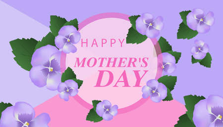 Happy Mother's Day. Lovely Greeting Card with purple flowers. Vector illustration.
