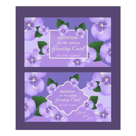 Decorative greeting card or invitation design with purple flower, violet. Set of wedding card. Vector illustration.