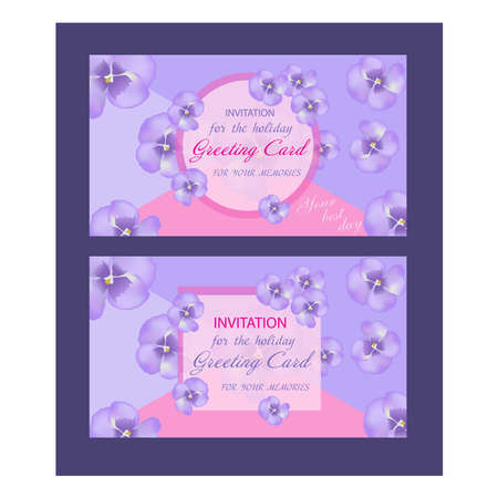 Set of wedding card. Decorative greeting card or invitation design with purple flower, violet. Vector illustration.