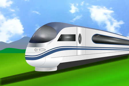 Super streamlined high-speed modern business train. Scenic summer view. Concept railway tourism transportation. Vector illustration.