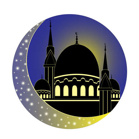 Moon and Mosque for Muslim holy month Ramadan Kareem. Ramadan Mubarak. Silhouette. Vector Illustration.