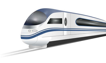 Super streamlined high-speed train isolated on white background. Concept railway tourism transportation and railroad travel. Vector illustration. Ilustración de vector