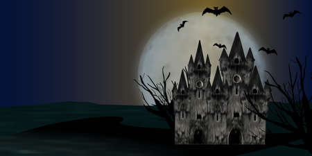 Halloween background with castle, full moon and bats. Vector illustration.