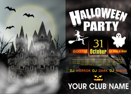 Template invitation to Halloween Party with gothic castle, flying young witch, ghost and full moon. Vector illustration.