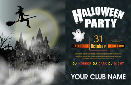 Halloween Party background with gothic castle, flying young witch, ghost and full moon. Vector illustration.