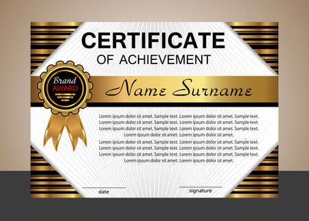 Certificate achievement or diploma. Elegant gold horizontal template. Vector illustration.