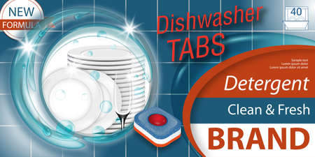 Dishwasher detergent tabs. Package design realistic with plates stack and glass in water splash and tablets. Dish wash advertisement poster layout or banner. Vector illustration. Vector Illustratie